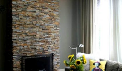 Ochre Stacked Stone Fireplace Testimonial
